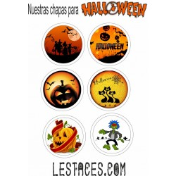 Pack 18 chapas 58mm Halloween
